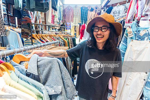 Funky Japanese Businessman in Clothing Store