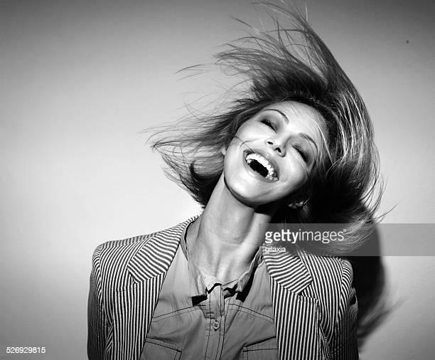 funky, spettinato, moda. - donna mezzo busto bianco e nero foto e immagini stock