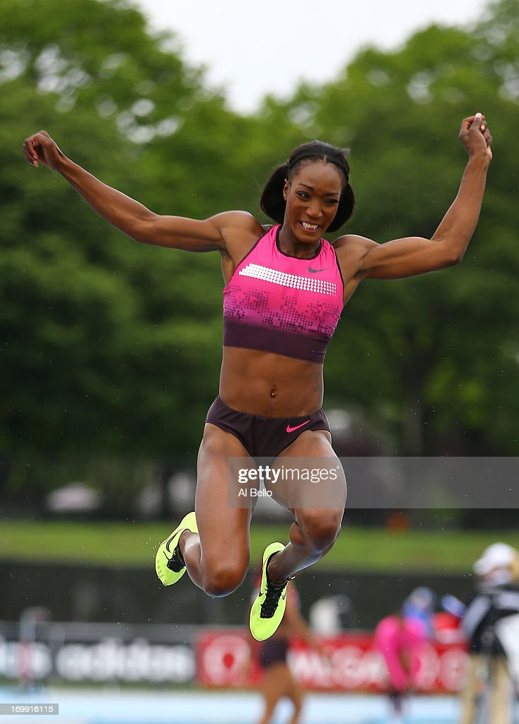 Funmi Jimoh of the USA leaps during the Adidas Grand Prix at Icahn Stadium  on Randall's
