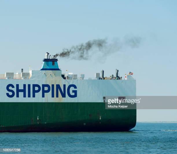 Funnel of ship emitting black smoke, Vlissingen, Zeeland, Netherlands