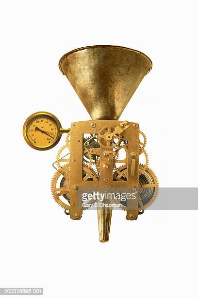 Funnel with gears and pressure gauge on white background