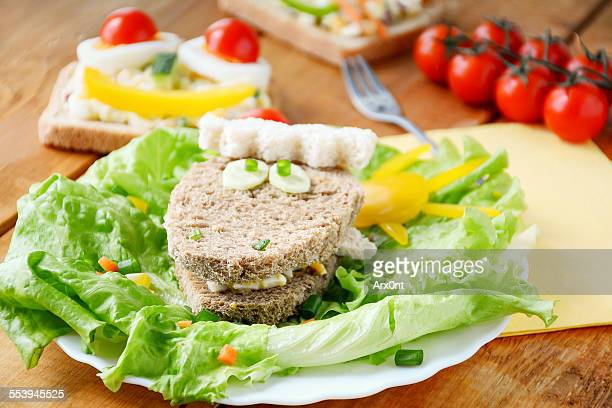 Funny and healthy sandwiches for kids
