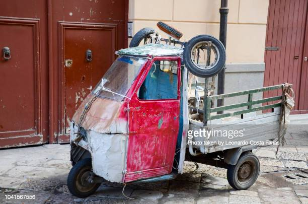 funny and old tricycle - leonardo costa farias stock photos and pictures