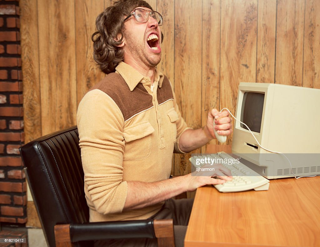 Funny angry 1980's office worker : Stock Photo