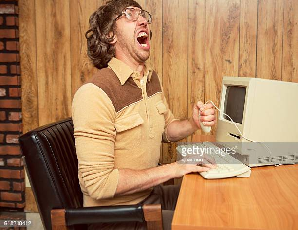 funny angry 1980's office worker - nerd stock pictures, royalty-free photos & images