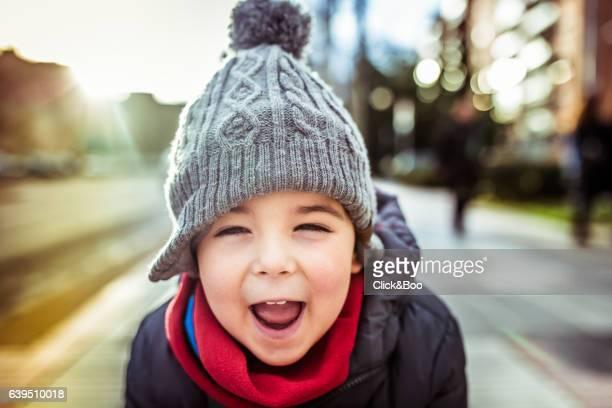 Funny backlighting portrait of a boy.