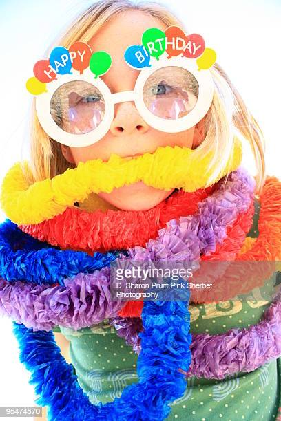 Funny Birthday Girl Wrapped In Party Leis