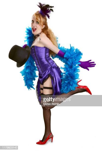 funny blonde actress with burlesque style outfit - carlos alkmin stock pictures, royalty-free photos & images