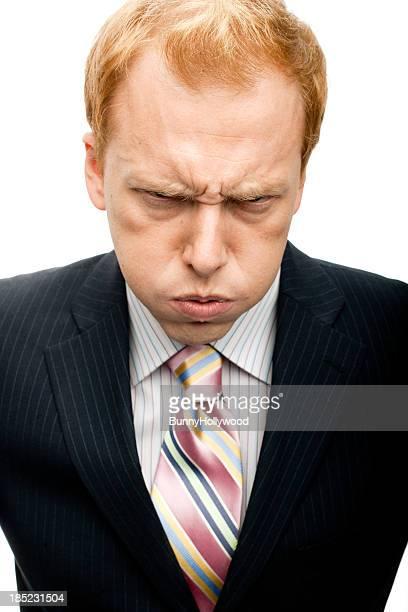 面白いビジネスマン mad 顔にホワイト