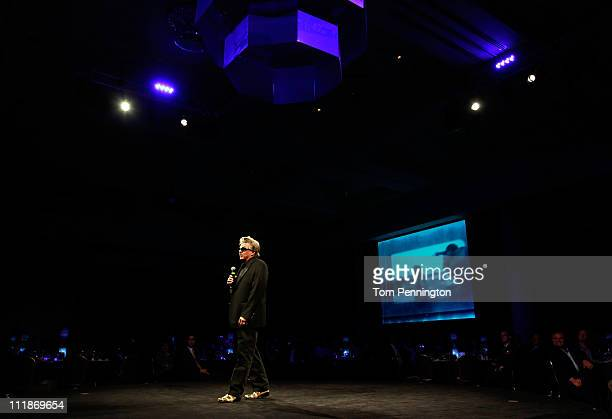 Funny Car driver John Force dives his acceptance speach after being inducted into the 2011 Texas Motorsports Hall of Fame at Texas Motor Speedway on...