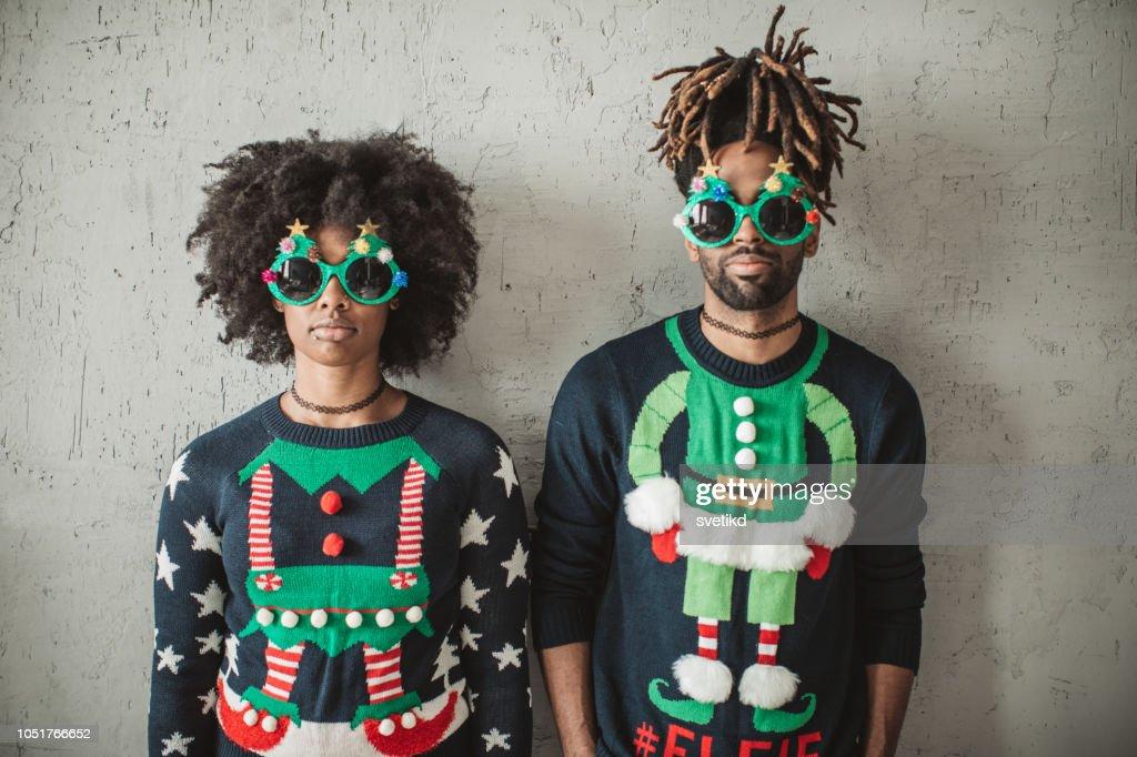 Grappige kerst paar : Stockfoto