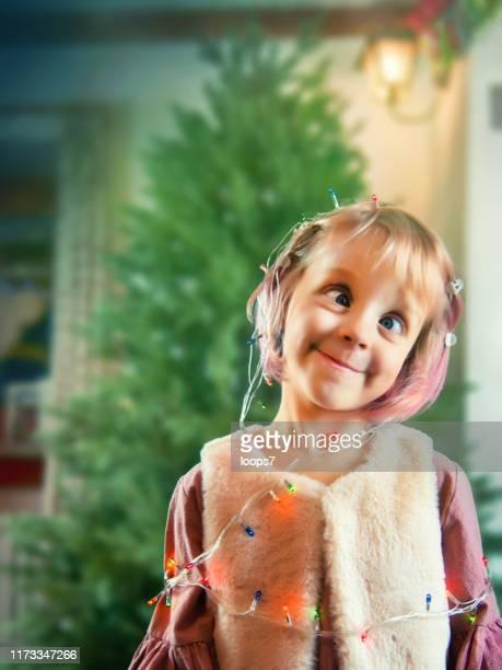 funny christmas girl - vertical imagens e fotografias de stock