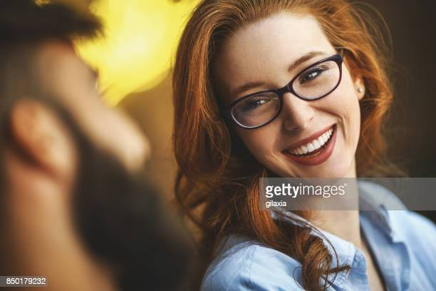 funny conversation at a coffee place. - dyed red hair stock pictures, royalty-free photos & images