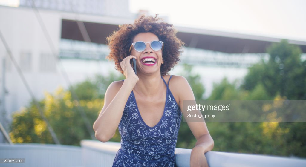 Funny conversation with my friend : Stock Photo
