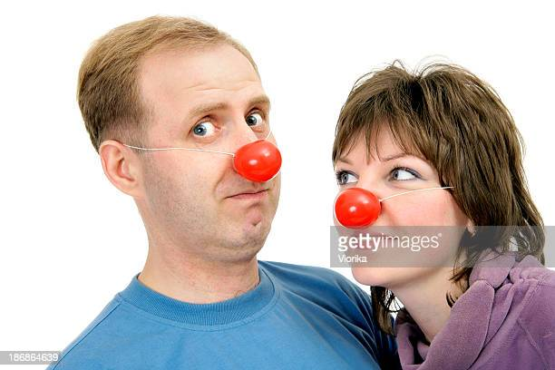 funny couple - happy clown faces stock photos and pictures