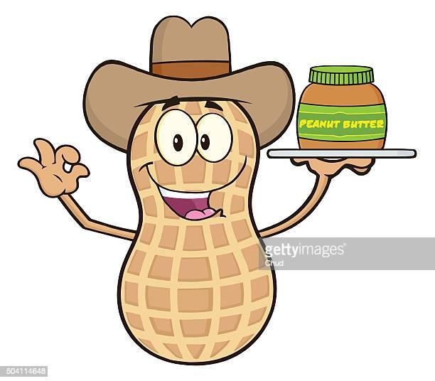 Funny Cowboy Peanut Cartoon Mascot Character