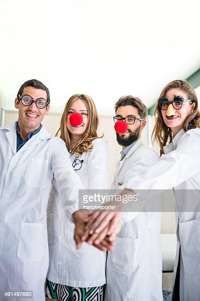 funny doctors at the hospital - happy clown faces stock photos and pictures
