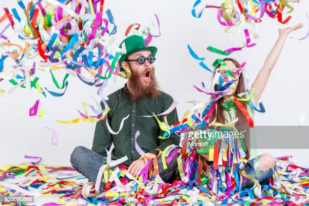 Funny Duet Of Cheersful People Playing With Ribbons