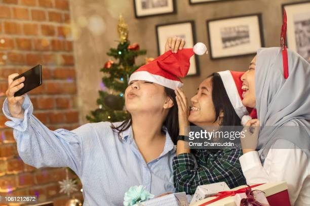 Funny face expression at Christmas celebration