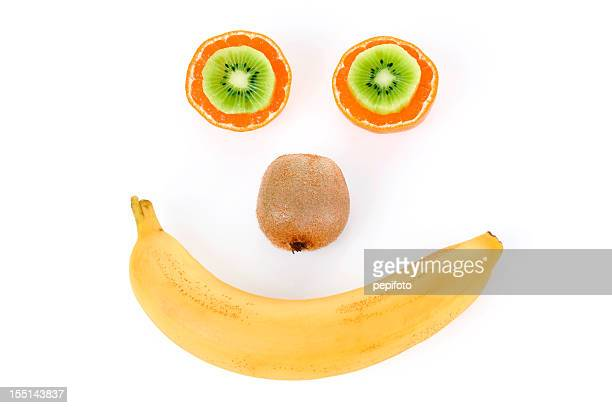 Funny face made from fruit.