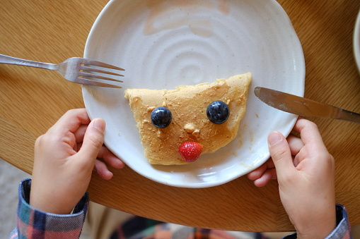 Funny face pancake decorated with fruits - gettyimageskorea