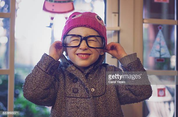 funny glasses girl - horn rimmed glasses stock pictures, royalty-free photos & images