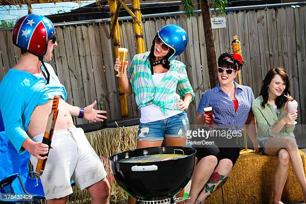 Funny Group Grill Out- Woman Looking at Man's Belly