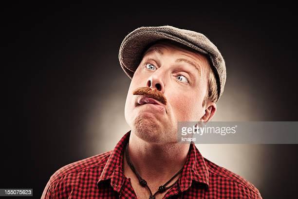 engraçado cara com estampas bigode - alto contraste - fotografias e filmes do acervo