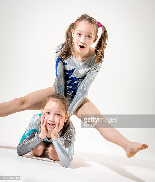 funny gymnastic girls - leotard stock pictures, royalty-free photos & images
