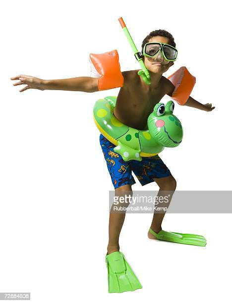 funny kid in swimming gear - armband stock pictures, royalty-free photos & images