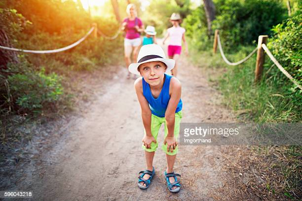 Funny little boy and family hiking in Majorca