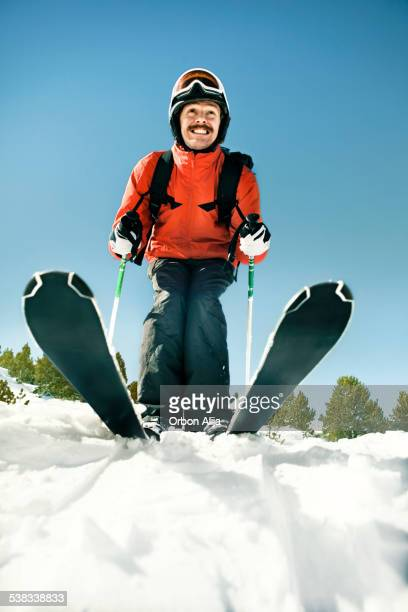funny man skiing - funny snow stock photos and pictures