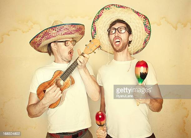 funny mariachi band with sombreros - mexican hat stock pictures, royalty-free photos & images