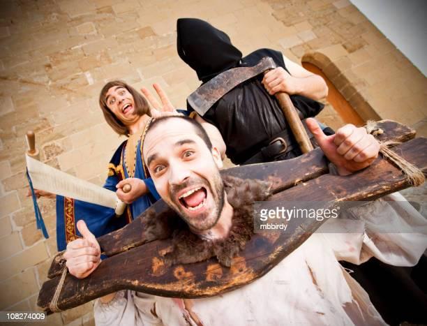 Lustiger mittelalterlichen öffentlichen beheading