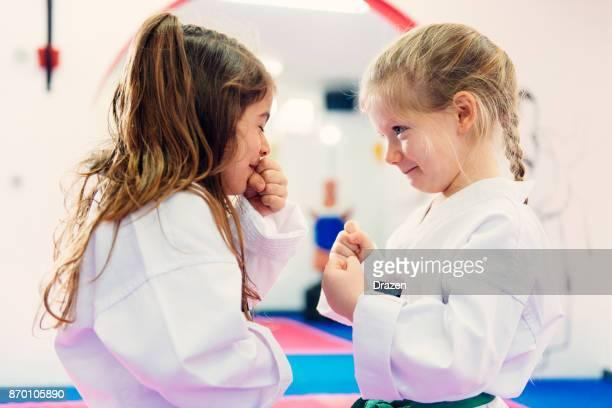 Funny moments on taekwondo training for young girls