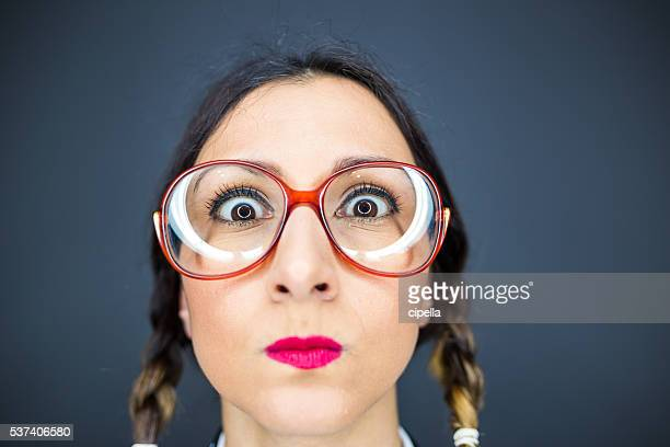 funny nerd woman - girl nerd hairstyles stock photos and pictures