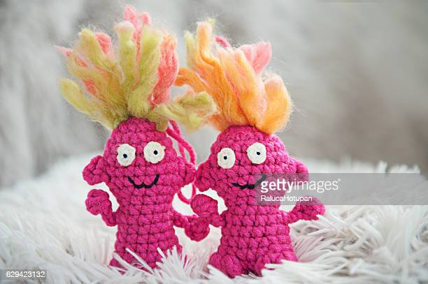 funny pink knitted trolls DIY