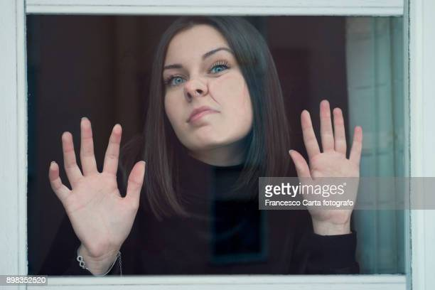 funny portrait - pushing stock pictures, royalty-free photos & images