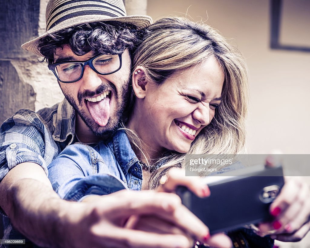 Funny Selfie, Couple of Hipsters Having Fun with Smartphone Photography : Stock Photo