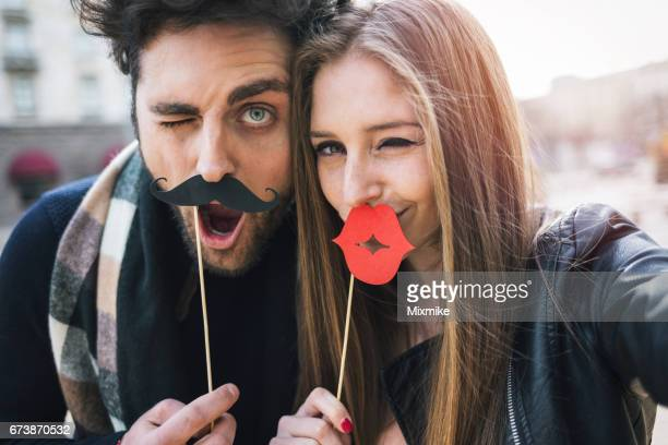 funny selfie - big lips stock photos and pictures