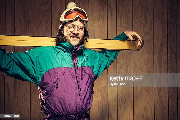 funny ski bum in lodge - fashion oddities stock pictures, royalty-free photos & images