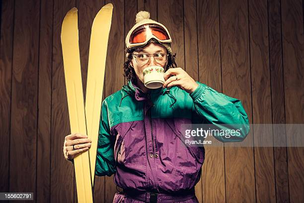 Funny Ski Bum in Lodge