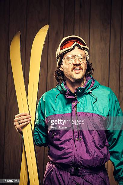 lustige ski bum in der lodge - ugly people stock-fotos und bilder