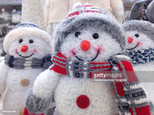 Funny two snowmen in the winter scenery.