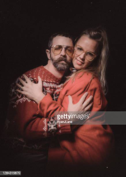 funny vintage styled couple ugly christmas sweater portrait - old ugly woman stock pictures, royalty-free photos & images