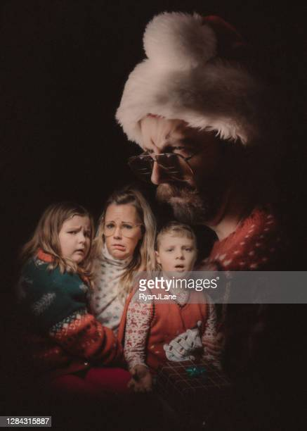 funny vintage styled family ugly christmas sweater portrait - old ugly woman stock pictures, royalty-free photos & images