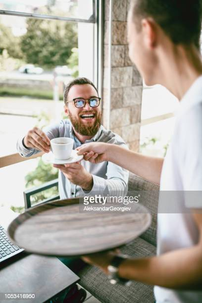 Funny Waiter And Bearded Hipster Costumer