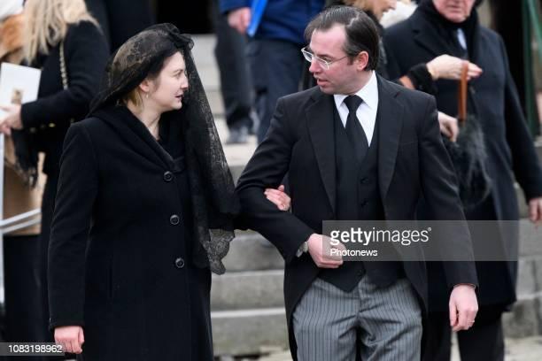 Funérailles du comte Philippe de Lannoy père de la grandeduchesse héritière Stéphanie de Luxembourg Begrafenis van Philippe de Lannoy * comtesse...