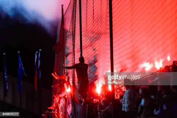 Funs of Spartak Moskva during the UEFA Champions League Group E match between NK Maribor and Spartak Moskva at Stadion Ljudski Vrt adio on September...