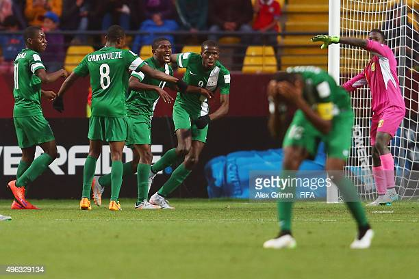 Funsho Bamgboye of Nigeria celebrates his team's second goal with team mates during the FIFA U17 World Cup Chile 2015 Final between Mali and Nigeria...